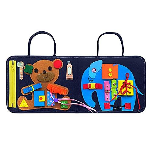 perfeciti Tablero De Actividades para Niños Pequeños, Libro Sensorial Juguetes Montessori para Bebés Juguete De Educación Temprana, Juguetes De Bebé Habilidades De Vida Tablero