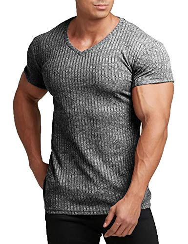 COOFANDY Men s Muscle T Shirts Stretch Short Sleeve V Neck Bodybuilding Workout Tee Shirts (Dark Grey, Large)