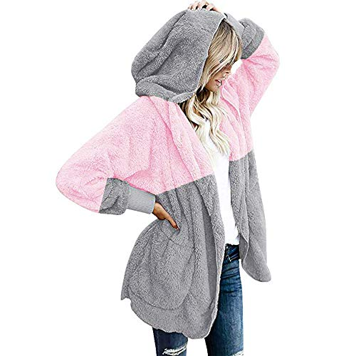 iHENGH Damen Warm bequem Herbst Winter Lässig Stilvoll Jacke Mantel Oversized Open Front Kapuzen Drapierte Taschen Cardigan(EU-40/CN-M,Rosa)