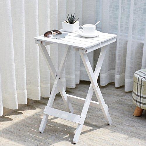 QFF Style de simplicité nordique Matériau de pin à une couche Style de plancher Porte-fleurs, tables pliantes table basse Table basse extérieure ( Couleur : Blanc )