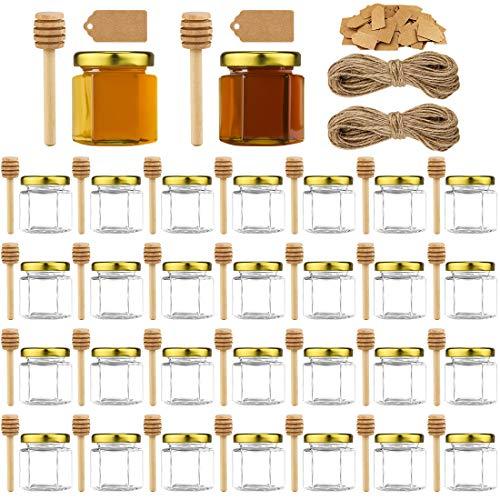 30pcs 1.5oz Mini Honey Jars with Lids, Hexagon Glass Spice Jars Mini Honey Bottle with 30pcs Honey stick, 100pcs Kraft paper tag, 2 bundles of hemp rope, for Wedding Party Favors, DIY and More