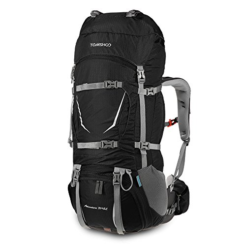 TOMSHOO 70 + 5L Sac à Dos Trekking Imperméable avec Housse de Pluie pour Sport Randonnée Trekking Camping Voyage Alpinisme Escalade