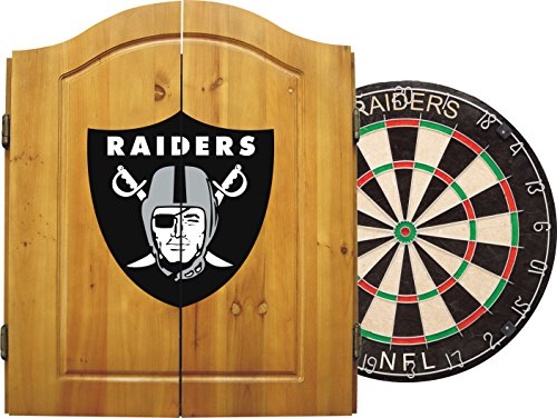 Imperial Officially Licensed NFL Merchandise: Dart Cabinet Set with Steel Tip Bristle Dartboard and Darts, Oakland Raiders