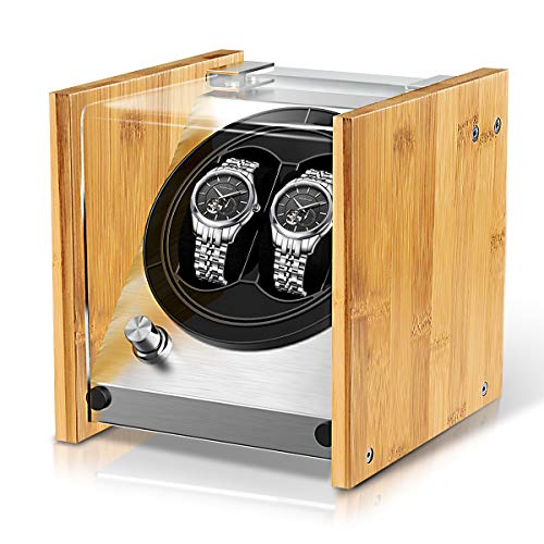 Watch Winder Box for Automatic Watches Or Rolex Couple Size Double, Craftsmanship 100% Bamboo Wood Patent Housing Case, AC Or Battery Powered Super Quiet Japanese Motor by Watch Winder Smith