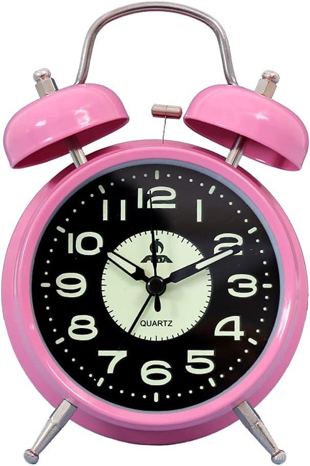 HUSHFLY Cute Boy's Girl's Simple Desktop Bedside Alarm Clock for Children (B Pink)