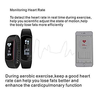 ROOP Fitness Tracker with Heart Rate Monitor Waterproof Fitness Tracker Touch Screen Activity Tracker Sleeping Monitor Pedometer Watch with Calling/Text Number Display for IOS 7.0+ and Android 4.3+