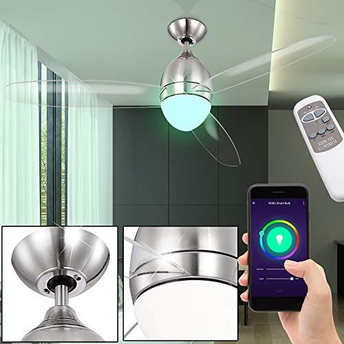 etc-shop Decken Ventilator Vor-Rücklauf Lüfter Sprach App Steuerung Lampe im Set inkl. RGB LED Leuchtmittel