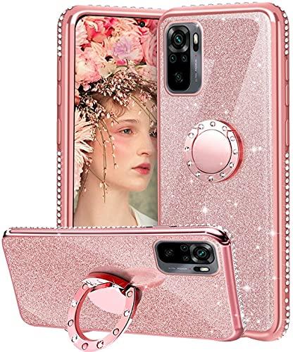 OUJD Glitter Funda para Xiaomi Redmi Note 10 4G / Note 10S, Brillante Diamante Bling Carcasa, 360 Grados Anillo Iman Soporte Magnético con Silicona TPU Resistente Anti-Rasguños - Rosa