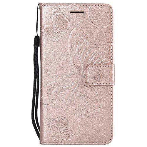 DENDICO–Carcasa Huawei Mate 7, Mariposa Estampado PU Piel Carcasa magnético Billetera Funda Funda, TPU–Carcasa de protección para Huawei Mate 7
