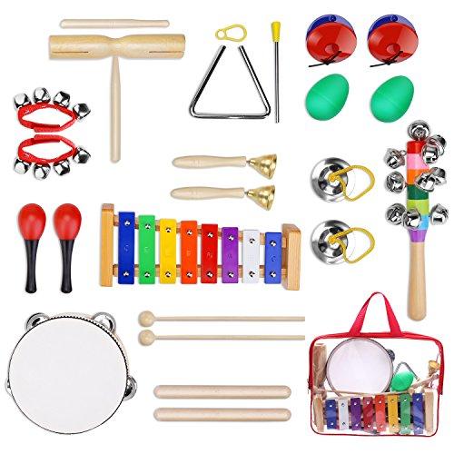 Yissvic Strumenti Musicali per Bambini 23pcs Giocattolo in Legno Musica Strumenti Bambini Gioco Educativo Imparare Musica Gioco Testati Sicuri