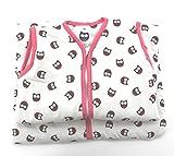 Fashion&Joy Baby Schlafsack aus 100% Baumwolle Eulen in pink 90 cm Babyschlafsack Mädchen leicht gefüttert atmungsaktiv Ganzjahres-Schlafsack Kleinkind rosa Typ373