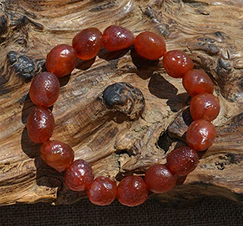 YINGBBH Piedra en Bruto de ágata Natural Natural Alxa Gobi ágata áspero Cereza Rojo ágata Pulsera Rojo Brazalete Decoración de Sala