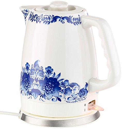 Rosenstein & Söhne Teekanne: Keramik-Wasserkocher WSK-280.rtr mit blauem Blumen-Motiv, 2 l, 1.500 W (Wasserkocher Teekanne)