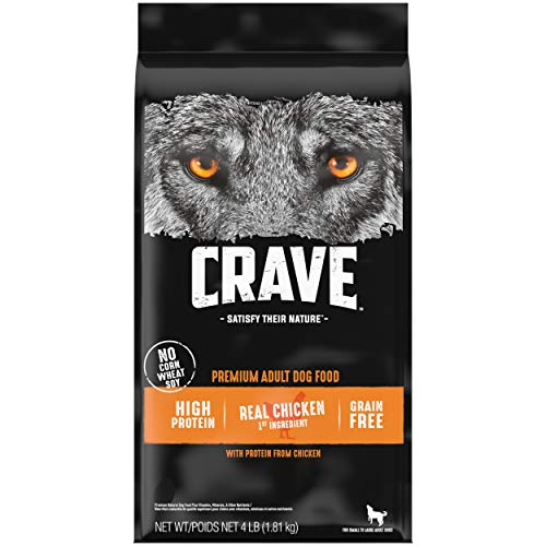 CRAVE Grain Free Adult High Protein Natural Dry Dog Food with Protein from Chicken, 4 lb. Bag