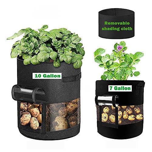 じゃがいも栽培袋、2個入(26.5L+38L)野菜植物栽培袋、遮光布付き、通気性がある不織布植物袋
