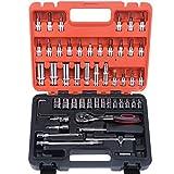 HSEAMALL Juego de llaves de vaso de 1/4 pulgadas, juego de llaves métricas, adaptador de llave de trinquete y barra de extensión para reparación de motor de coche, bicicleta, caja de herramientas