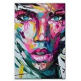 Abstrakte bunte Mädchengesicht Leinwandmalerei Poster und