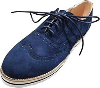 Close-dole Womens Lace Up Loafers Perforated Oxfords Shoes Casual Platform Wingtip Brogue Sneakers Flat Breathable Single Shoes