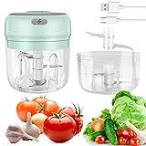 Elektrischer Mini Zerkleinerer, USB-Aufladung, Lebensmittelzerkleinerer mit 100&250 ml verdickter Tasse, 2&3 scharfen Klingen, Küchenmaschine für Fleisch, Gemüse, Nüsse (Grün)
