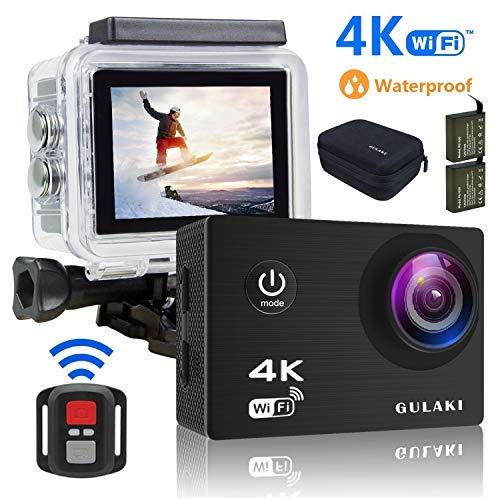 GULAKI Cámara Deportiva 4K WiFi Ultra HD 16MP Cámara Acción de Casco Resistente al Agua Cámara...