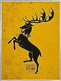1art1 Juego De Tronos Póster Impresión Artística con Marco (Plástico) - House Baratheon, Nuestra Es La Furia, En Inglés (80 x 60cm)