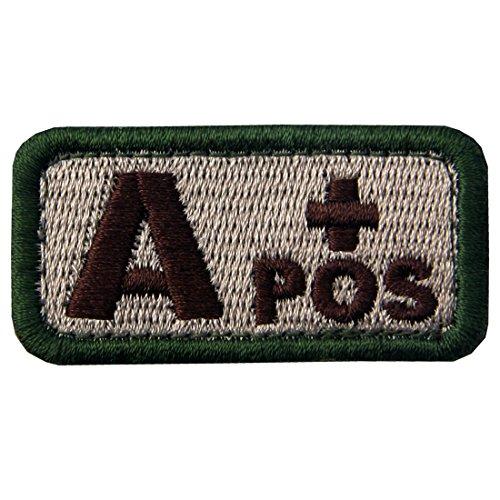 Táctico Tipo A positivo Tipo de sangre emblema Broche Bordado de Gancho y Parche de Gancho y bucle de cierre, Multitan