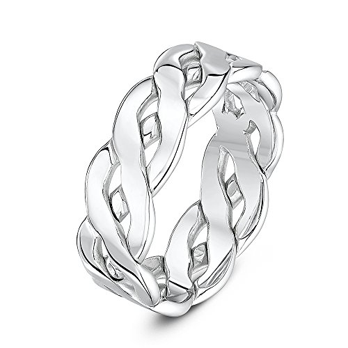Theia Unisex 9 ct White Gold, 7 mm Celtic Wedding Ring, Size T