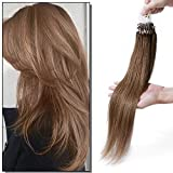 Elailite Extensiones Anillas Cabello Natural Micro Ring Pelo Humano sin Clip 100 mechas 50g - 100% Remy Human Hair Largas 60cm #06 Castaño Claro