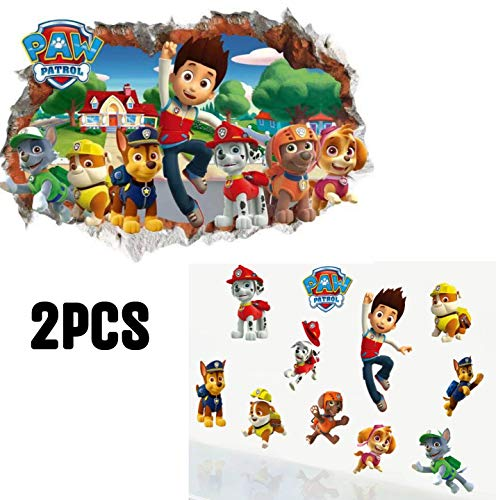 Paw Patrol Sticker Mural 3D Chambre Gar/çon Fille Paw Patrouille 3D Autocollants Muraux Bris/és Stickers Muraux Pat Patrouille Autocollants Muraux Pat Patrouille Chambre Enfant