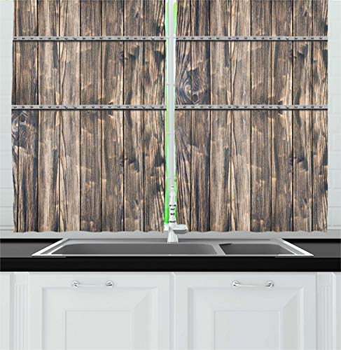 """Ambesonne Rustic Kitchen Curtains, Image of Wooden Planks with Screws and Nails Farmhouse Theme Log Cabin Print, Window Drapes 2 Panel Set for Kitchen Cafe Decor, 55"""" X 39"""", Brown Grey"""