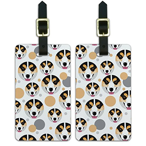 Graphics & More Dog Puppy Pembroke Welsh Corgi Face Tri-Colour, Pembroke Welsh Corgi Face Tricolour (White) - Luggage.Tags.08991