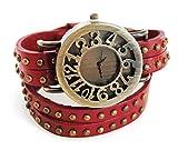 axy Wickelarmbanduhr 30cm Serie 6 WICAU6! Damen Leather Uhr Armreif (Rot/Red)