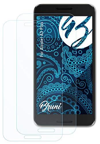 Bruni Schutzfolie kompatibel mit Alcatel A3 Plus Folie, glasklare Bildschirmschutzfolie (2X)