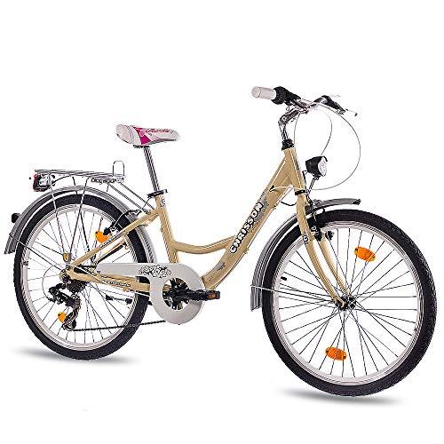 CHRISSON 24 Zoll Kinderfahrrad Mädchen - Relaxia Creme - Mädchenfahrrad mit 7 Gang Shimano Kettenschaltung - Fahrrad für Kinder zwischen 9-12 Jahre und 1,35m bis 1,50m Körpergröße