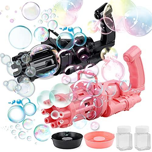 xiaom Gatling Bubble Machine 2021 Cool Toys & Gift, Bubble Blaster Bubble Gun Bubble Machine for Toddlers Gatling Bubble Machine for Party Bubble Guns Wands Bubble Blower Machine Gun (Pink Black)