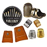 8 Pcs Sewing Thimble + 30 Pcs Sewing Needles, Finger Protector Fingertip Thimble Adjustable Metal Bronze Sewing Thimble Rings and Leather Coin Thimble for Needlework, Hand Embroidery Craft