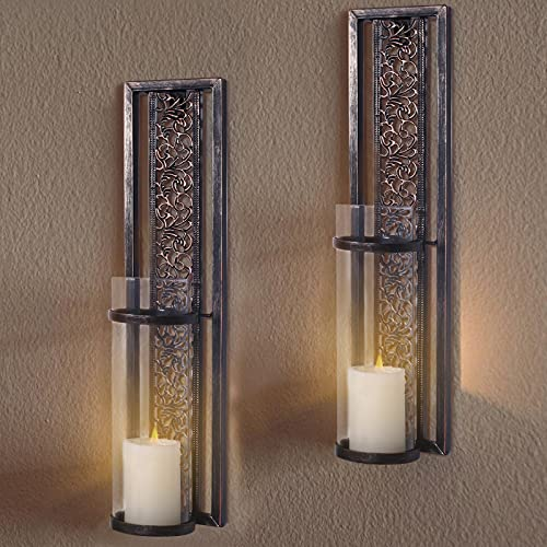 SUJUN Wall Sconce Candle Holder – Metal Wall Décor for Living Room, Bathroom, Dining Room Decoration, Set of 2 Candle Sconce