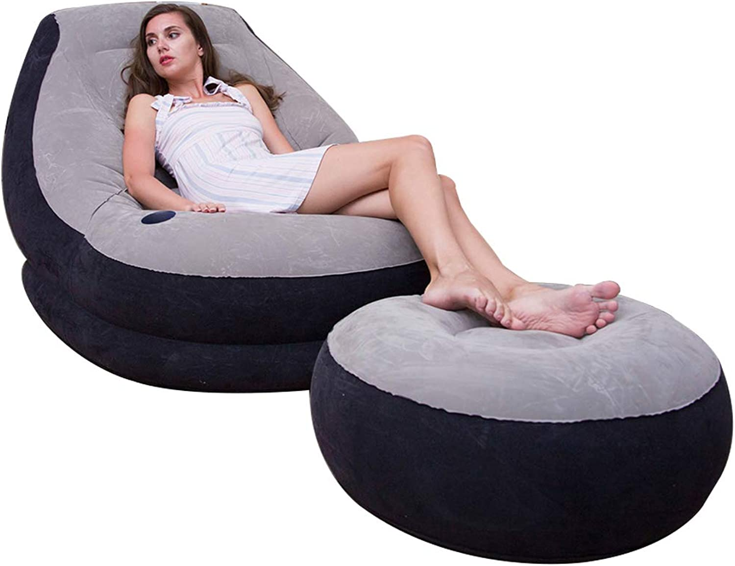 Inflatable Lazy Couch, Luxurious Chaise Longue and footrest seat Portable Inflatable Bed Leakproof air Sofa