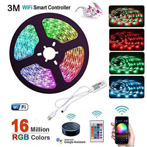 WiFi Smart LED Light Strip 3m / 10ft Phone APP Control Alimentato da USB Impermeabile flessibile Kit di illuminazione Lavora con Alexa Google Home for Home Party Decor