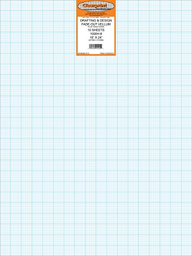 Clearprint Vellum Sheets with 8x8 Fade-Out Grid, 18x24 Inches, 16 lb., 60 GSM, 1000H 100% Cotton, 10 Sheets Per Pack, Translucent White (10202222)