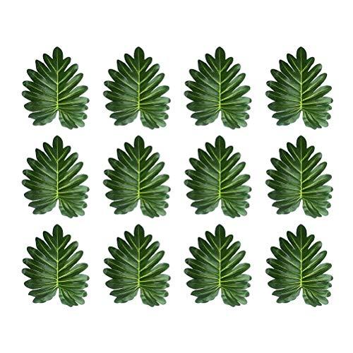 ABOOFAN 12 piezas hermosas hojas de Hawaii plantas artificiales hojas de hada Taro hoja de fiesta adorno (verde oscuro) fiesta favor