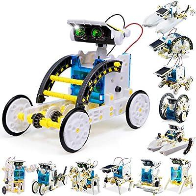FLY2SKY 12-in-1 STEM Toy Solar Robot KIt DIY Solar STEM Robot Toy Building Toy Gift for Kids 8 9 10 11 12+ Science Kits for Kids Science Experiment Kit Solar Powered Robotics for Kids