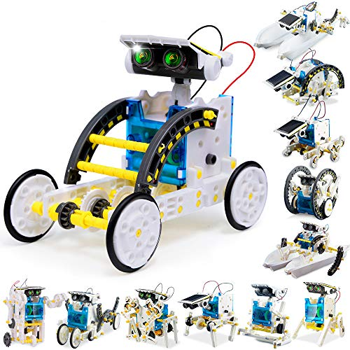 FLY2SKY 12-in-1 STEM Toy Solar Robot KIt DIY Solar STEM Robot Toy Building Toy Gift for Kids 8 9 10 11 12+ Science Kits for Kids Science Experiment Kit Solar Powered Robotics for Kids