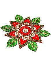 KRIWIN 10 to 11 inches Dia -Floor/Wall/Table Rangoli Decorative Showpiece (Acrylic) (Leaf)