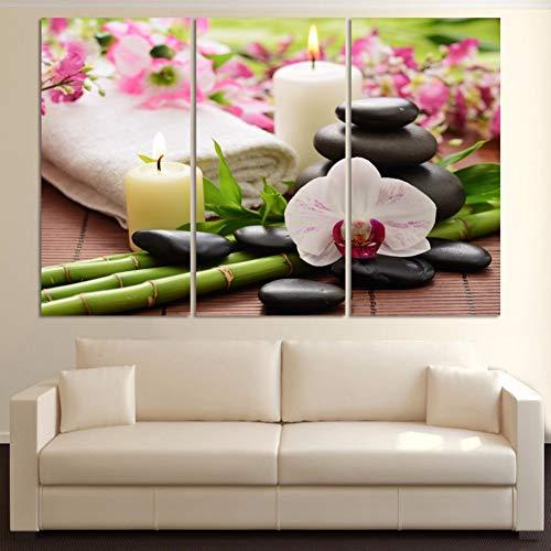 KDSFHLL 3 Dekorative Gemälde Hd Gedruckt Leinwand Malerei Wandkunst Modulare 3 Panel Kerze Handtuch Kiesel Wohnzimmer Bilder Wohnkultur Kunstwerk
