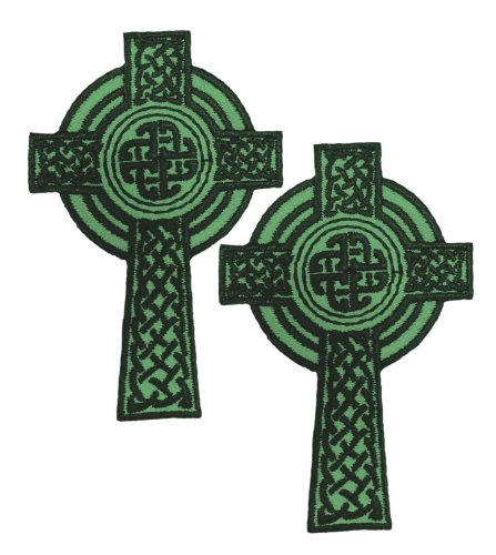 Pair of Celtic Cross Iron-On Appliques