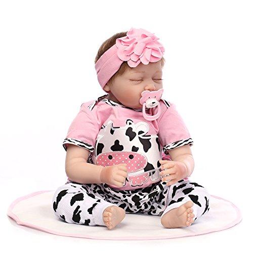 Decdeal Muñeca Bebé Reborn Niña Realista de 55cm con Ropa y Ojos Cerrados