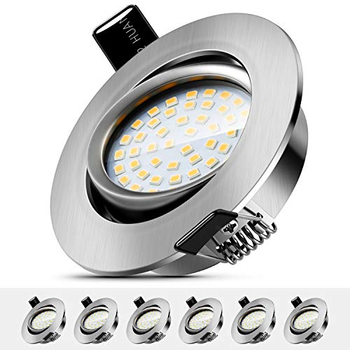 LED Einbaustrahler Schwenkbar 5W Deckenstrahler Leuchtmittel Warmweiß 3000K,IP44 Wasserdicht Deckenspot für Deckenspots Wohnzimmer,Badezimmer 6er Set [Energieklasse A++ ]