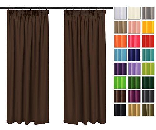 Rollmayer Vorhänge mit Bleistift Kollektion Vivid (Braun 28, 135x150 cm - BxH) Blickdicht Uni einfarbig Gardinen Schal für Schlafzimmer Kinderzimmer Wohnzimmer