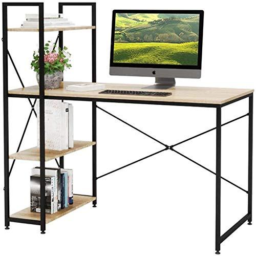 Escritorio para ordenador, escritorio con estantes de almacenamiento de 4 niveles a la izquierda o derecha, mesa de estudio para computadora portátil, estación de trabajo para oficina en casa (roble)